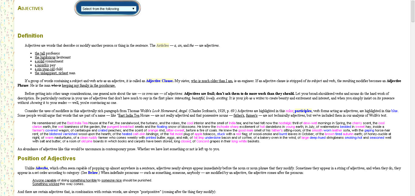 Guide to grammar and writing free english grammar courses online screenshot showing a sample lesson from the site notable in the screenshot are the light baditri Choice Image