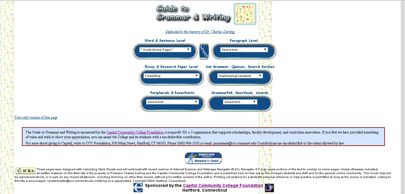 Guide to grammar and writing free english grammar courses online screenshot of the guide to grammar and writing homepage showing the different menu options baditri Choice Image